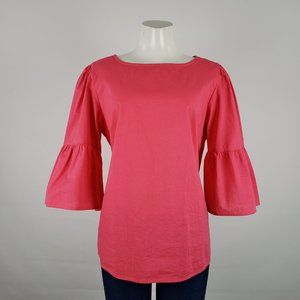 Time & Tru Pink Cotton Belle Sleeve Top Size L